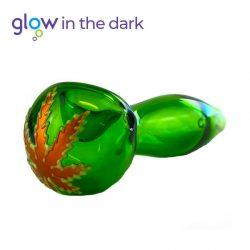 Pipa Verde Fluorescente in Vetro 10cm